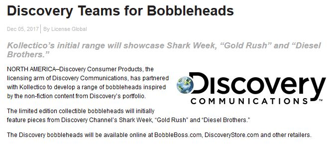 Discovery Teams with Kollectico to launch Bobblehead Line