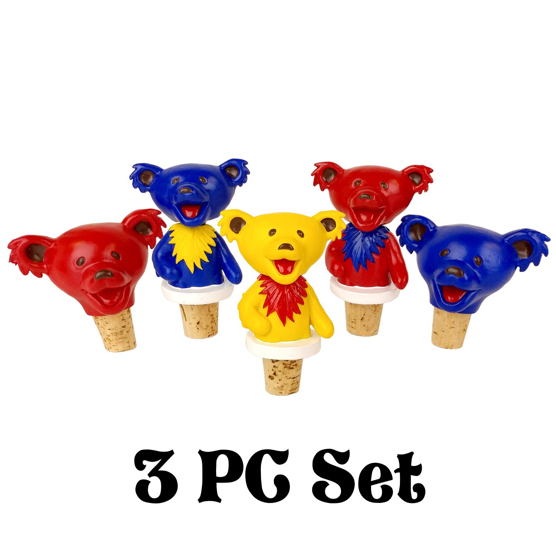 Grateful Dead Dancing Bears Bottle Stoppers – 3pc Set