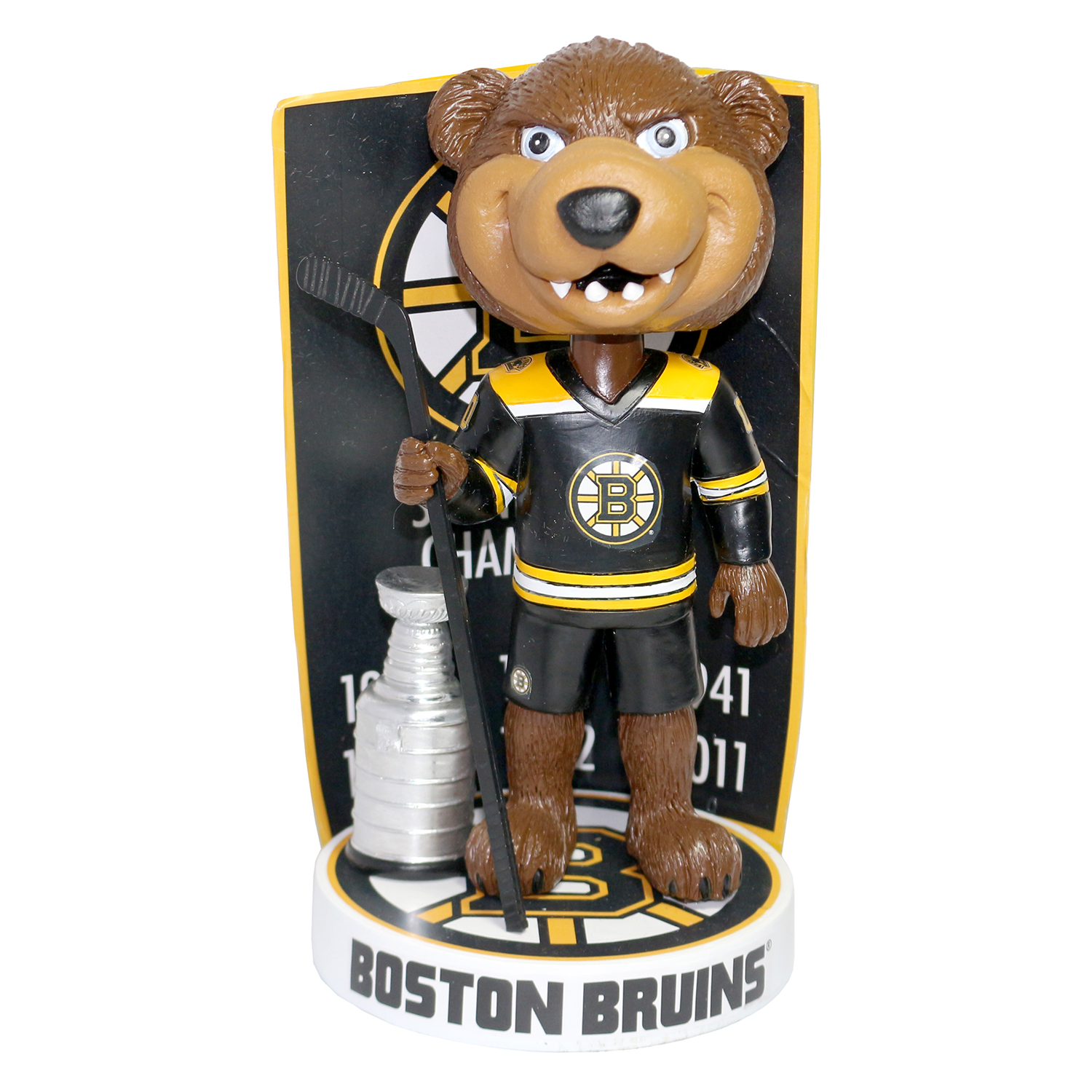 Boston Bruins Blades Stanley Cup Champions Banner Mascot Bobblehead