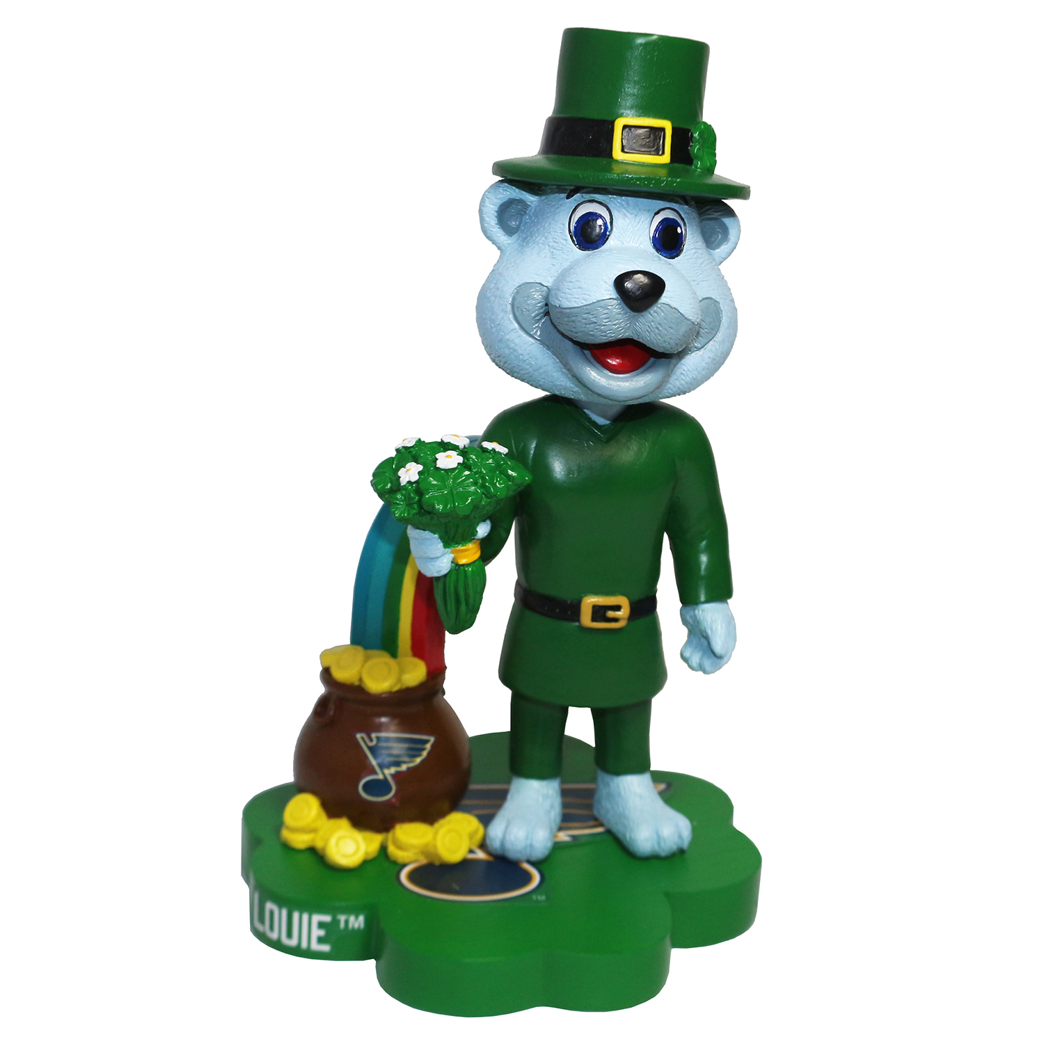 St. Louis Blues Louie St. Patrick's Day Mascot Bobblehead