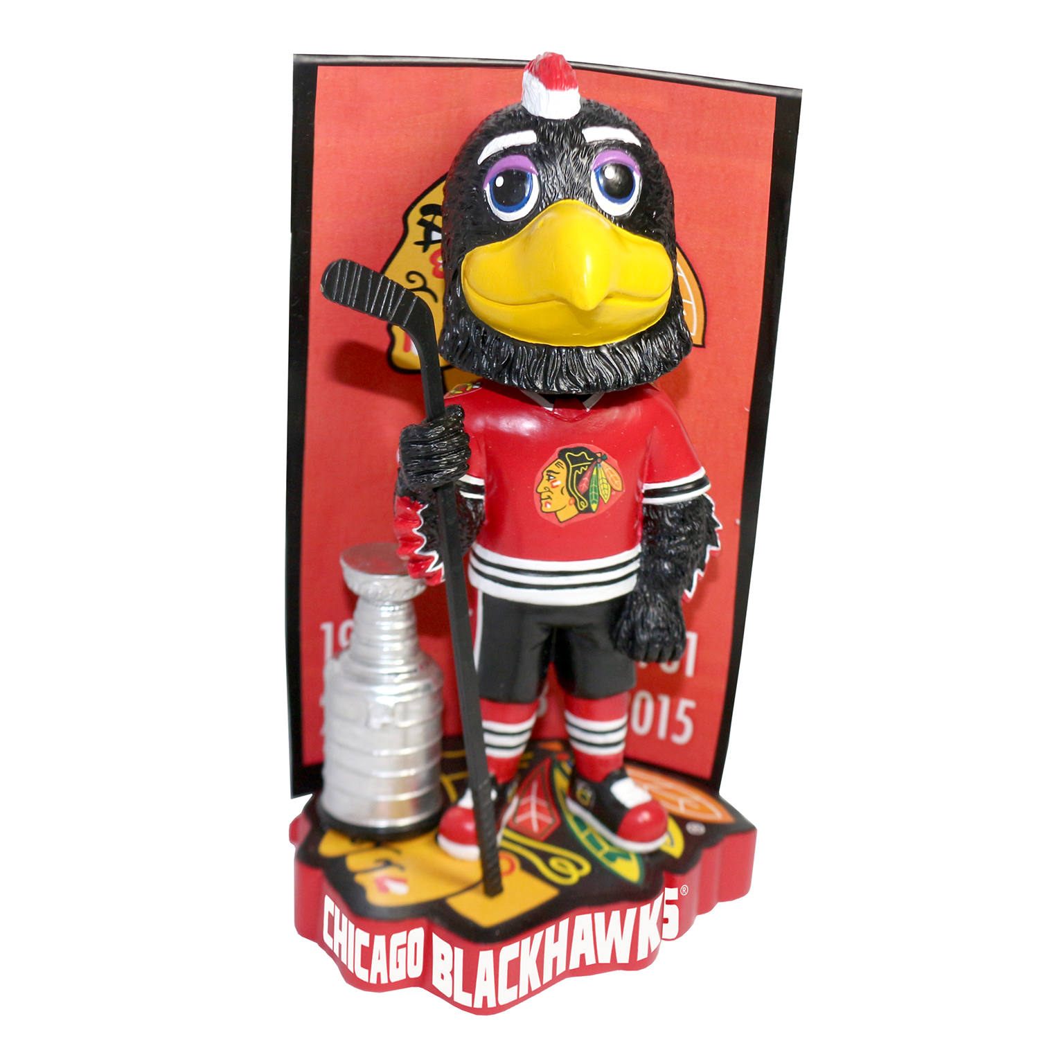 Chicago Blackhawks Tommy Hawk Stanley Cup Champions Banner Mascot Bobblehead