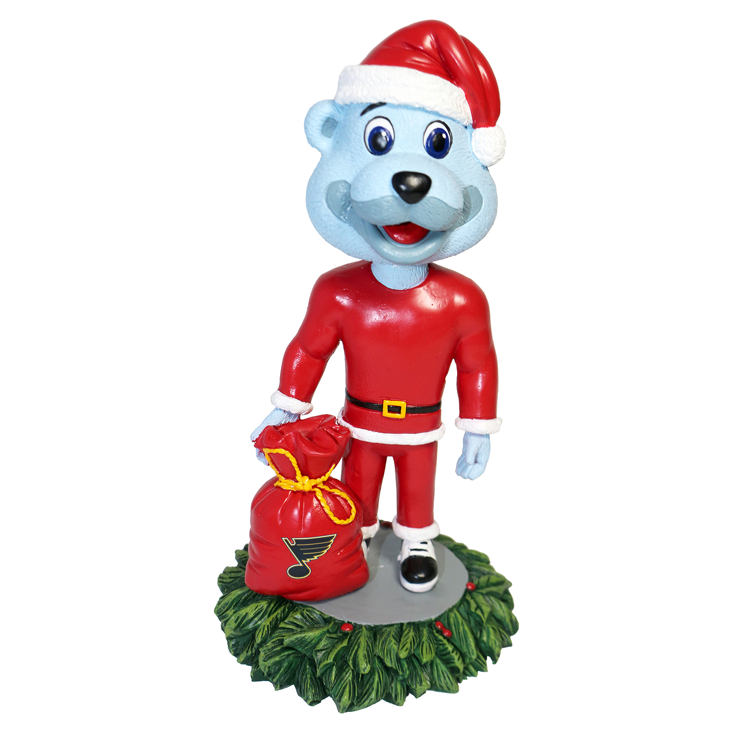 St. Louis Blues Louie Christmas Mascot Bobblehead